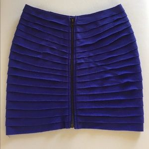 Blue Ribbed Mini Skirt With Front Zipper